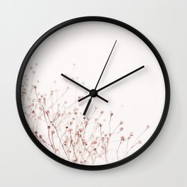 Pink Wild Flowers Wall Clock