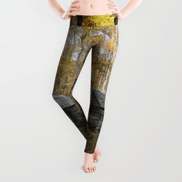 Smoky Mountain Rural Rustic Cabin Autumn View Leggings