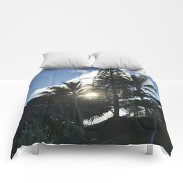 Hawaiian Sun peaking through the Trees Comforters