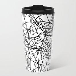 Black line doodle single line Travel Mug