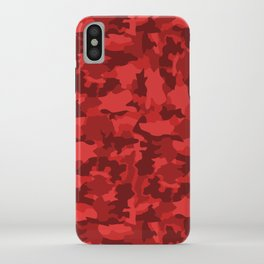 Red Background Camouflage Pattern iPhone Case