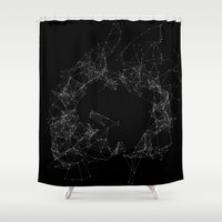 plain Shower Curtains featuring Artificial Constellation Plain by Neon Wildlife