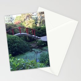Red arched bridge at Kubota Garden Stationery Cards
