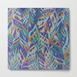 Tropical palms, blue green pattern Metal Print