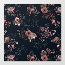Japanese Boho Floral Canvas Print