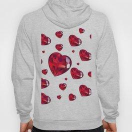 MODERN ART RAINING RUBY RED VALENTINES HEARTS Hoody