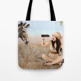 """""""Safari"""" - The Playful Pinup - Khaki Safari Pin-up Girl by Maxwell H. Johnson Tote Bag"""