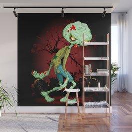 Zombie Creepy Monster Cartoon on Cemetery Wall Mural