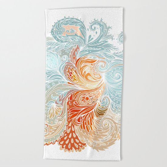 Light Blue Floral Indian Pattern Beach Towel