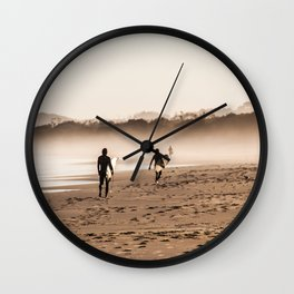 Surfers between the fog Wall Clock