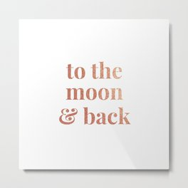 to the moon and back - white Metal Print