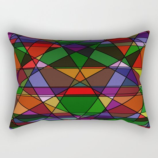 Stain Glass Mosaic Dark Rectangular Pillow