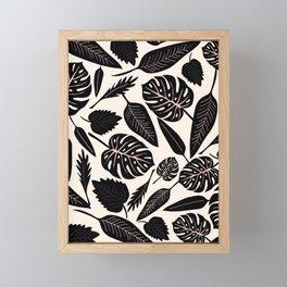 Monstera pattern in black and pastel Framed Mini Art Print