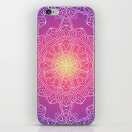 White Lace Mandala in Purple, Pink, and Yellow iPhone Skin