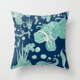 exotic fish - seabed - pirate and stories Throw Pillow