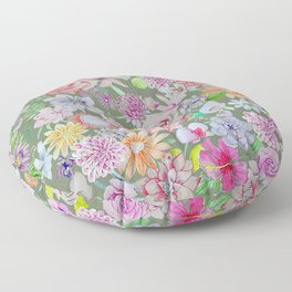 set of pink, violet and orange flowers on gray background Floor Pillow
