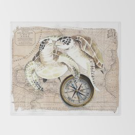 Sea Turtles Compass Map Throw Blanket