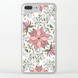 Cute Vintage Pink Floral Doodles Tile Art Clear iPhone Case