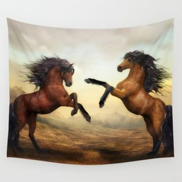 The Dueling Stallions Wall Tapestry