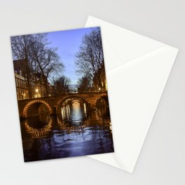 Amsterdam Night Canal Landscape Stationery Cards