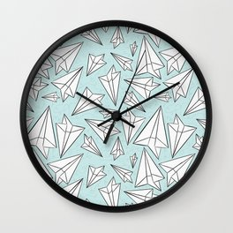 Paper Airplanes Mint Wall Clock