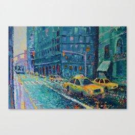 Rainy Day in New York - Palette Knife urban art city landscape by Adriana Dziuba Canvas Print