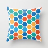 hexagon Throw Pillows featuring Hexagon by Danielle Arrington