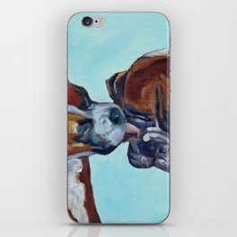 Kissing Boxers Dogs Portrait iPhone Skin