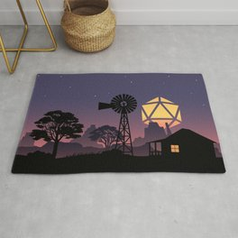 Farm Peaceful Night D20 Dice Full Moon Tabletop RPG Landscapes Rug