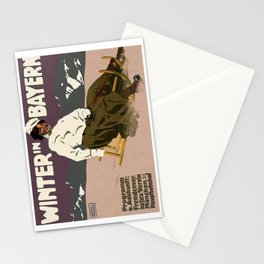 WinterWinter in Bayern, vintage poster Stationery Cards
