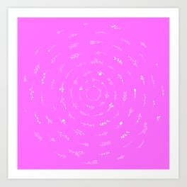 Minimalist Spring Floral Cyclone (White on Pink) Art Print