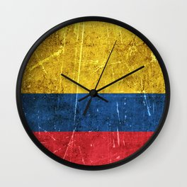 Vintage Aged and Scratched Colombian Flag Wall Clock