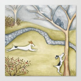 Dog squirrel landscape painting GET IT! original art Canvas Print