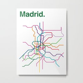 Madrid Transit Map Metal Print