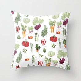 Fresh Vegetables Watercolor Throw Pillow