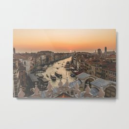 SHIPS ON BODY OF WATER BETWEEN HOUSES AND BUILDINGS DURING GOLDEN HOUR Metal Print