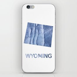 Wyoming map outline Blue watercolor iPhone Skin