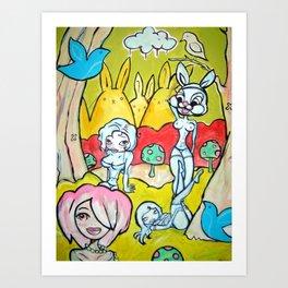 4 girls Art Print