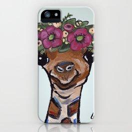 Flower Crown Giraffe, Cute Giraffe Painting iPhone Case