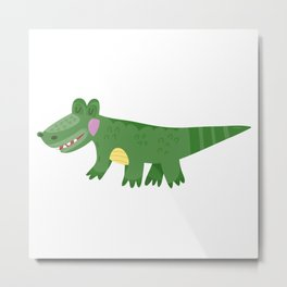 Cute Baby Crocodile Metal Print