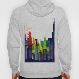 Colorful City Buildings And Skyscrapers In Watercolor, New York Skyline, Wall Art Poster Decor, NYC Hoody