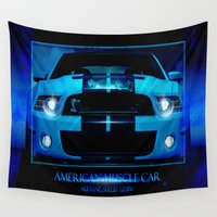 mustang Wall Tapestries featuring Mustang Shelby GT500 2013 by Gilles Rathé