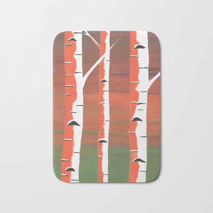 Birch Trees At Dusk Bath Mat