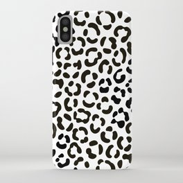 Trendy Black and White Leopard Print Pattern iPhone Case