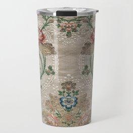 Floral Pattern Art From Vintage French Taffeta Travel Mug