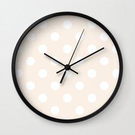Polka Dots - White on Linen Wall Clock