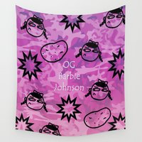 allyson johnson Wall Tapestries featuring OG Barbie Johnson  by Golly Good