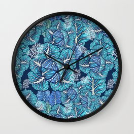 blue winter cabbage Wall Clock
