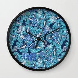 blue winter cabbage Wall Clock