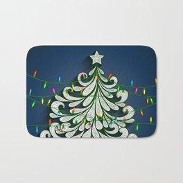 Christmas tree with colorful lights Bath Mat